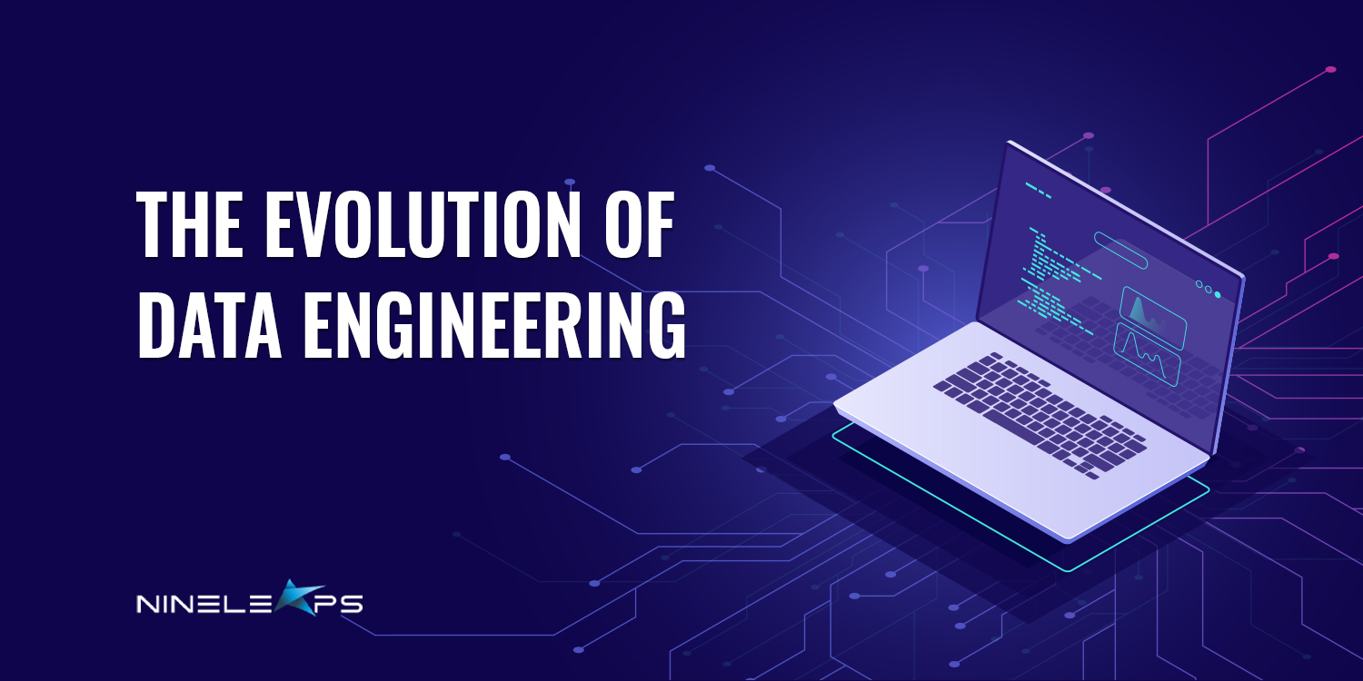 A creative that showcases a floating laptop along with the text ' The Evolution of Data Engineering'