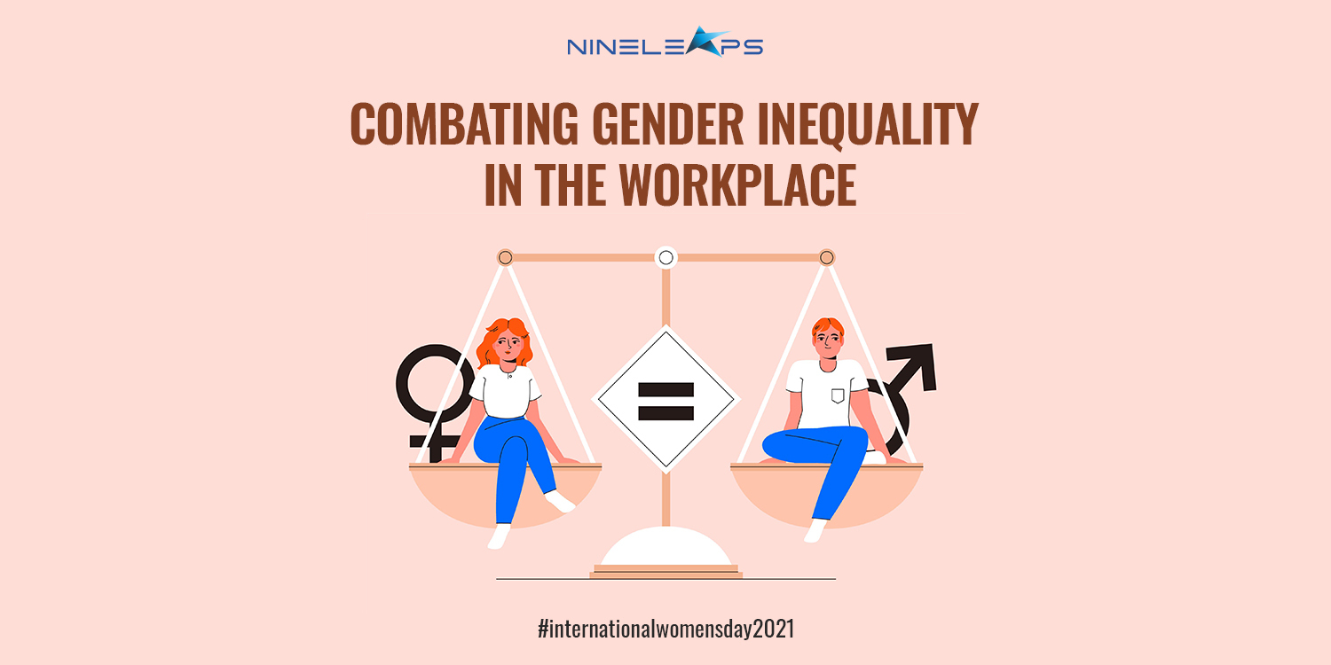 A graphic with the title 'Combating Gender Inequality in the workplace' and a representation of a man and woman sitting on a balance scale.